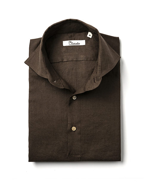 Pullover Linen Shirts - Brown