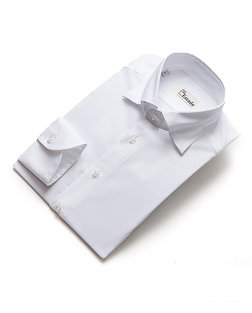 Wide Collar Cotton Shirts - White