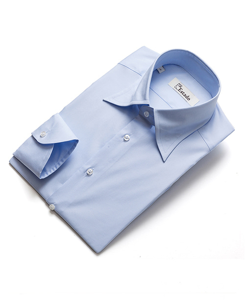 Long-point Cotton Shirts - Skyblue
