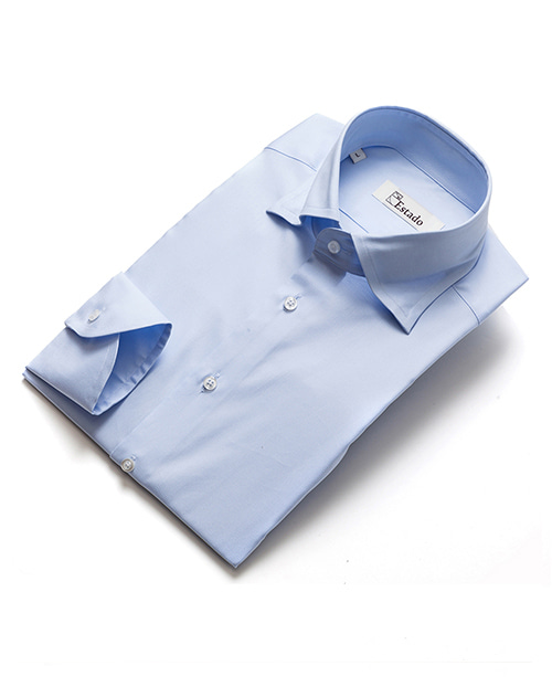 Wide Collar Cotton Shirts - Skyblue